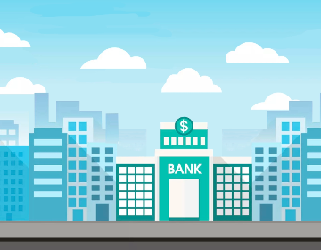 Cityscape illustration with a building that says, Bank.