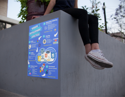 Girl sitting on the corner of a high rise concrete platform with a poster of the Web Development Lifecycle posted up.